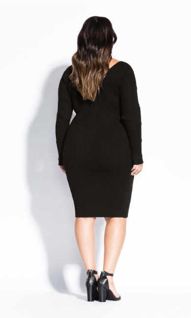 Buttoned Sleeve Dress - black