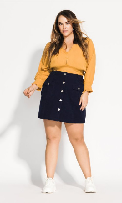Simply Shirred Top - ochre