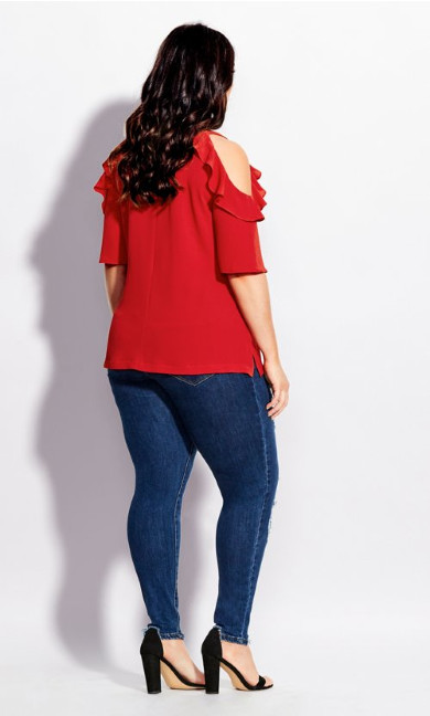 Wild Sleeve Top - red