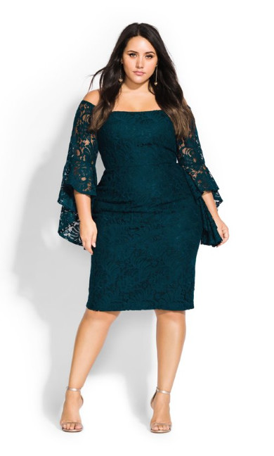 Women's Plus Size Mystic Lace Dress - emerald