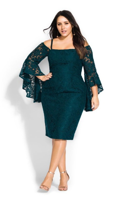 Mystic Lace Dress - emerald