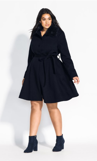 Women's Plus Size Blushing Belle Coat - navy