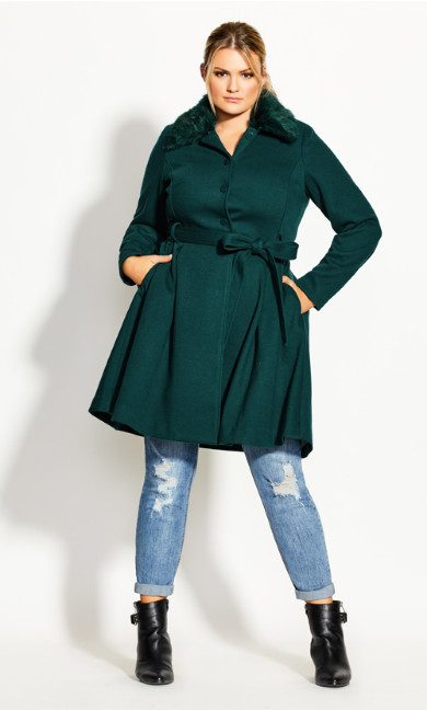 Women's Plus Size Blushing Belle Coat - jade