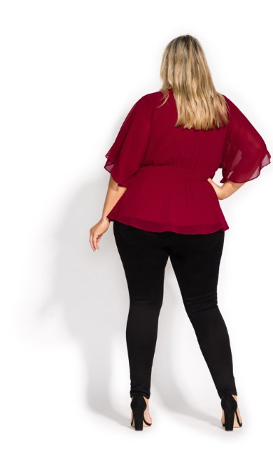 Elegant Wrap Top - currant