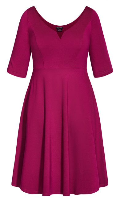 Cute Girl Elbow Sleeve Dress - fuchsia