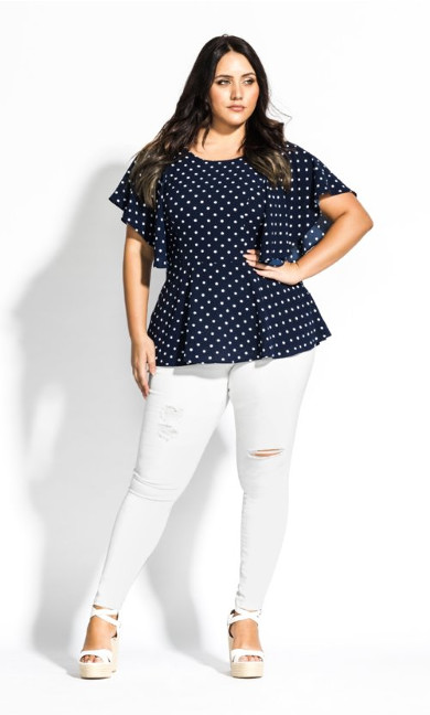 Women's Plus Size Fresh Spot Top - navy