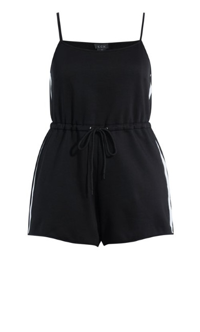 Side Stripe Playsuit - black