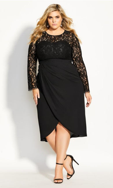 Women's Plus Size Elegant Lace Dress - black