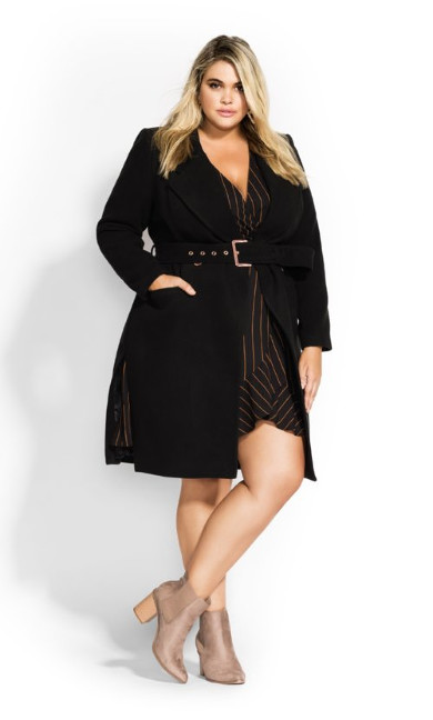 Women's Plus Size Regal Coat - black