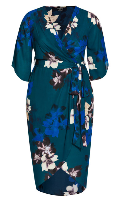 Decadent Wrap Midi Dress - teal