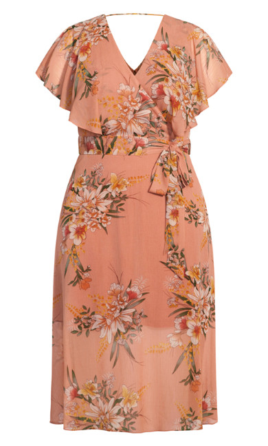 Sweet Floral Dress - guava