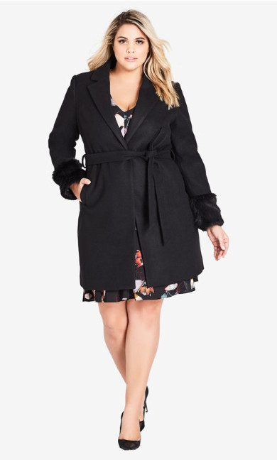 Women's Plus Size Fluffe Coat - black