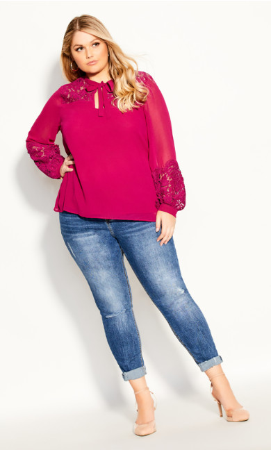 Plus Size Mysterious Lace Top - sangria