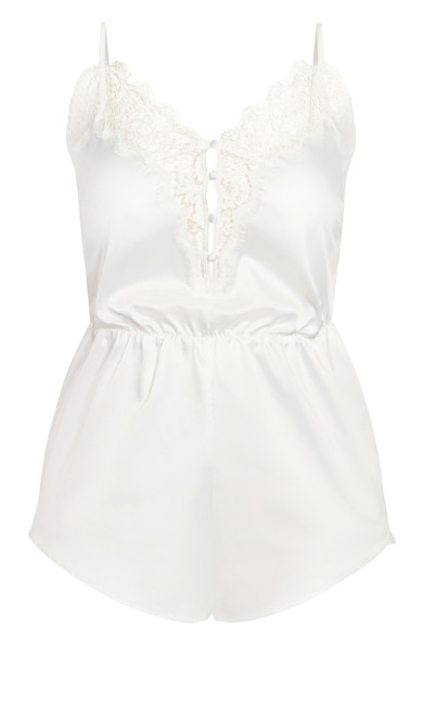 Plus Size Stella Satin Playsuit - ivory