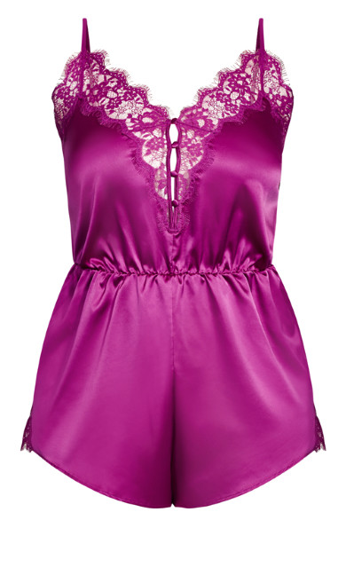 Plus Size Stella Satin Playsuit - aster