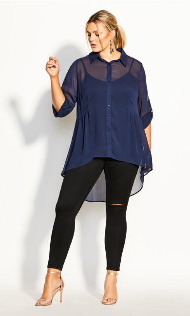 Plus Size Hi Lo Feels Shirt - navy
