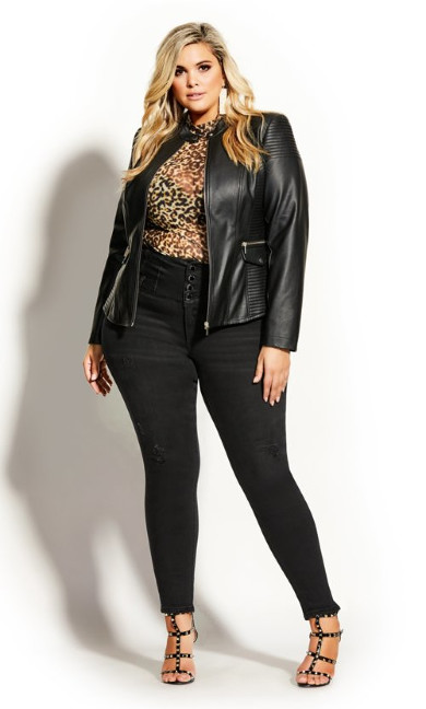 Women's Plus Size Biker Detail Jacket - black