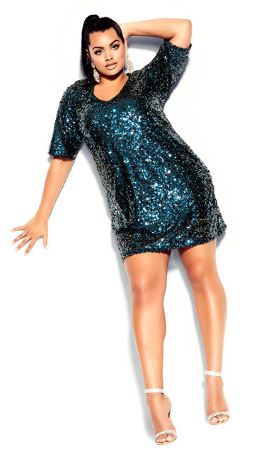Sequin Glam Dress - teal