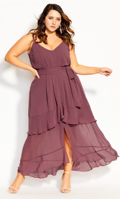 Mirage Frills Maxi Dress - rosewood