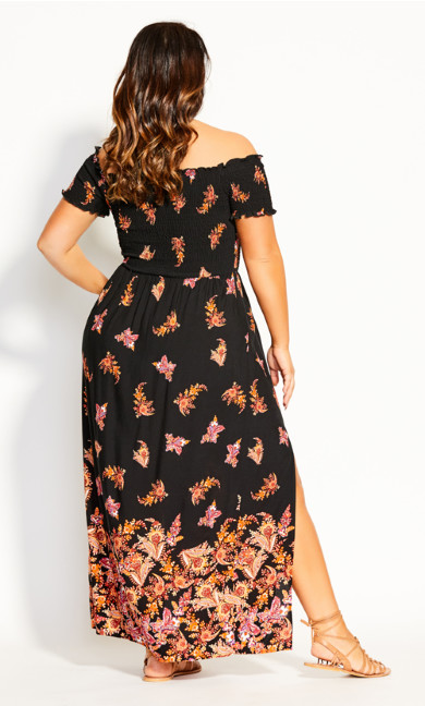 Boho Border Maxi Dress - black