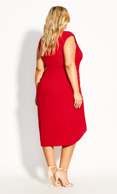 Side Ruch Dress - red