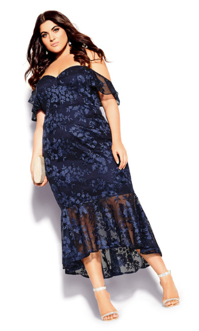 Lace Aflutter Dress - navy