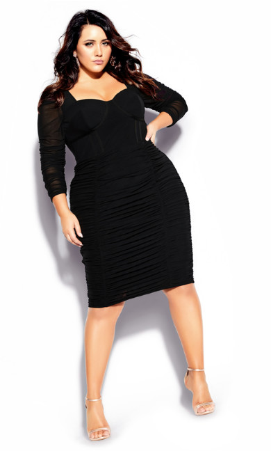 Women's Plus Size Sexy Bustier Dress - black
