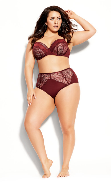 Plus Size Bree Hi Brief - burgundy