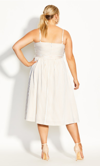 Elegant Stripe Dress - ivory