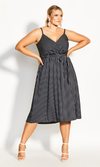 Plus Size Elegant Stripe Dress - black
