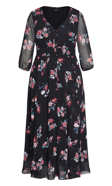 Love Floral Maxi Dress - black