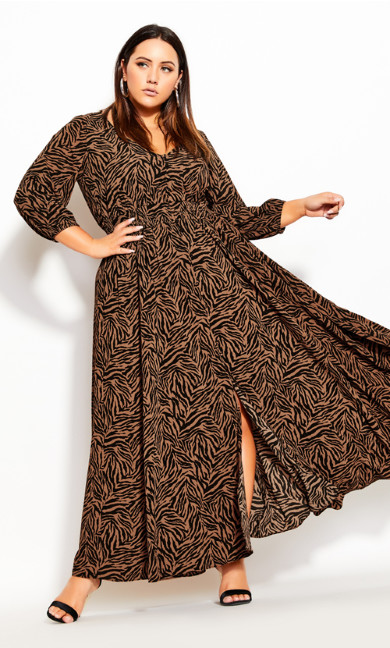 Plus Size Mini Tiger Maxi Dress - mini tiger