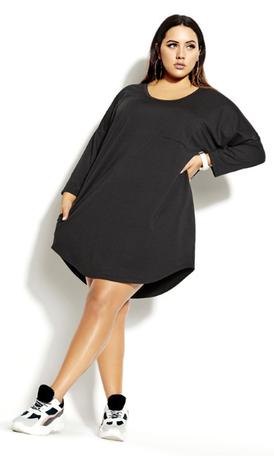 Lazy Days 3/4 Dress - black