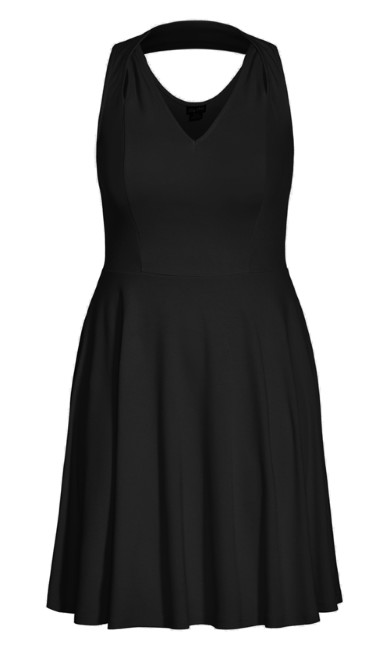 Strappy Halter Dress - black