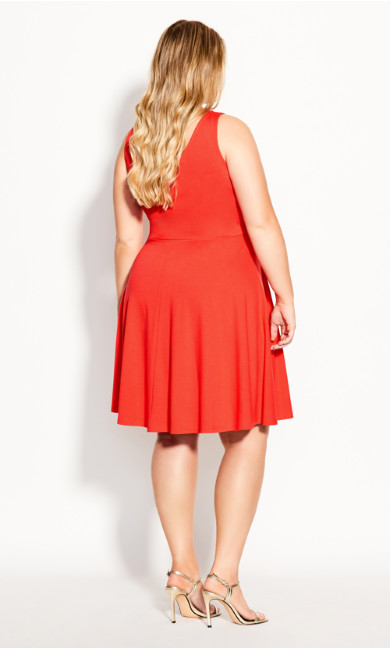 Strappy Halter Dress - coral