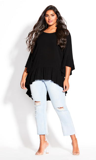 Plus Size Hi Lo Seeker Top - black