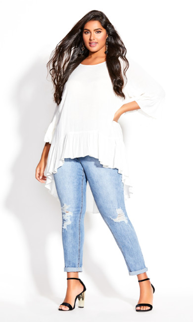 Plus Size Hi Lo Seeker Top - ivory