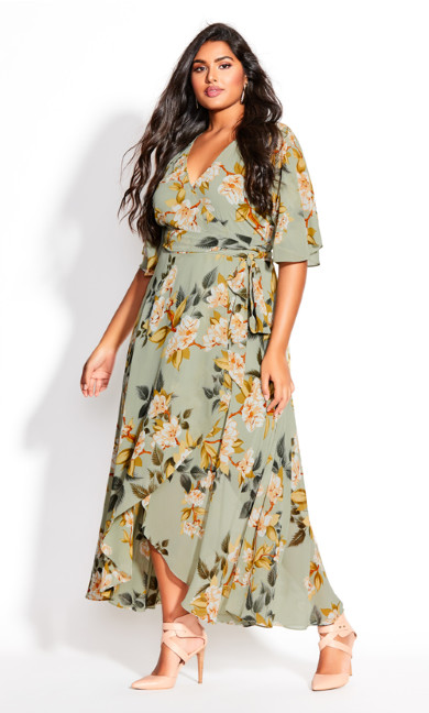 Plus Size Magnolia Floral Maxi Dress - sage