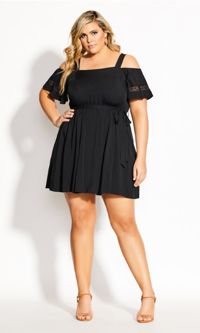 Trim Shoulder Dress - black