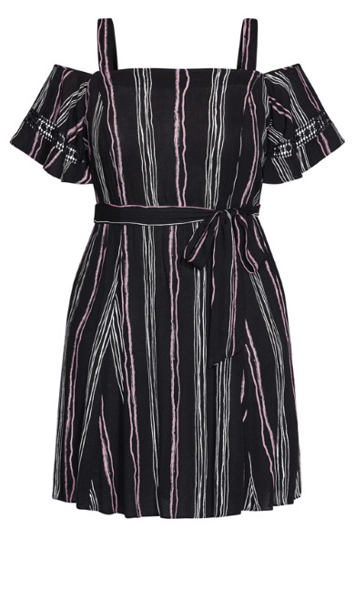 Romance Stripe Dress - black