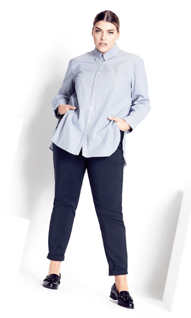Plus Size Stripe Tosca Shirt - ink stripe