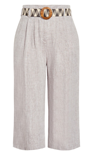 Linen Crop Pant - toffee