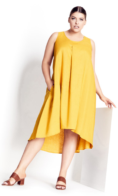 Plus Size Linen Dress - sunset