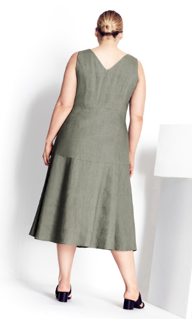 Linen Button Up Dress - moss