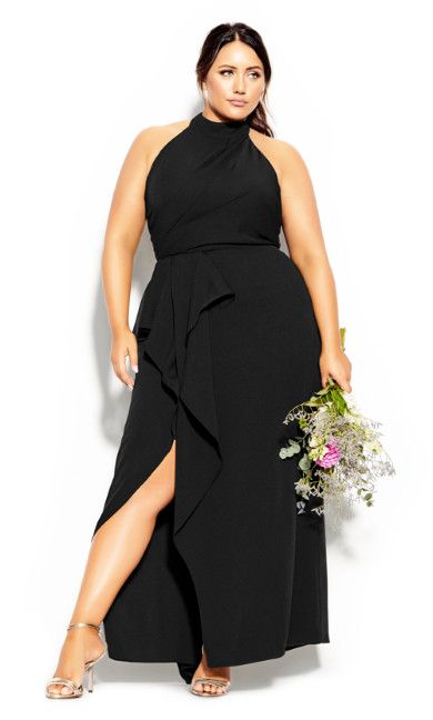 Plus Size Halter Flair Maxi Dress - black