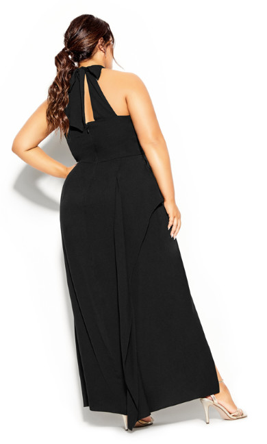Halter Flair Maxi Dress - black