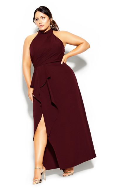 Plus Size Halter Flair Maxi Dress - imperial