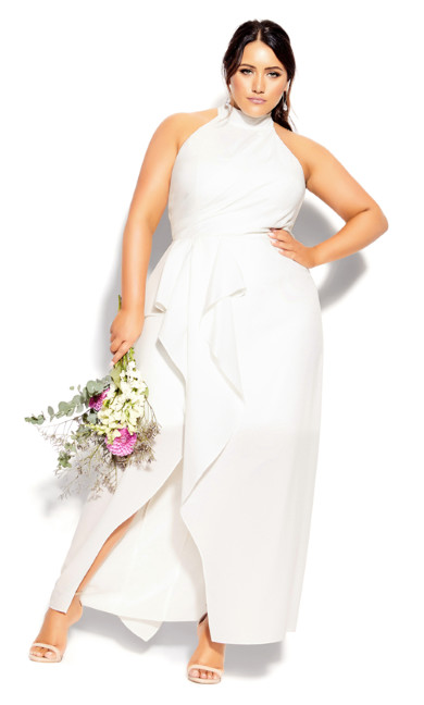 Plus Size Halter Flair Maxi Dress - ivory