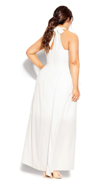 Halter Flair Maxi Dress - ivory