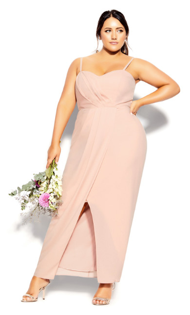 Plus Size Sweet Drape Maxi Dress - pink